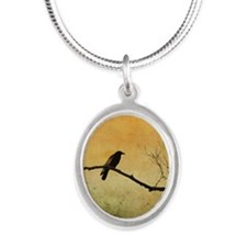 Two Crows On A Branch Silver Oval Necklace