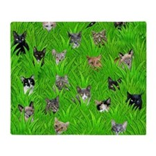Cats in Grass Throw Blanket