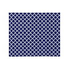 Navy Blue Quatrefoil Pattern Throw Blanket