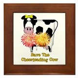 Cheerleading Cow Framed Tile