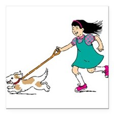 "Cartoon Girl Walking a Dog Square Car Magnet 3"" x"