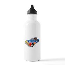 Cartoon Dog Driving Sports Car Water Bottle