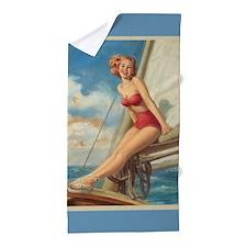 Sexy Sailor Pinup Beach Towel