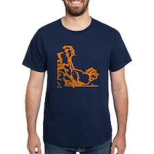 2 MEN PLAYING ON TABLE/ORANGE T-Shirt