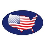 """United States Bubble Map"" Oval Decal"