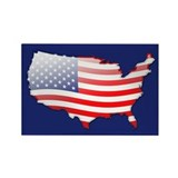 """United States Bubble Map"" Rectangle Magnet (100 p"