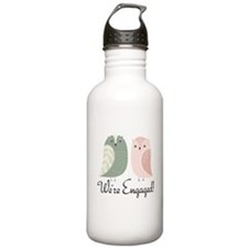 We're Engaged Owl Couple Water Bottle