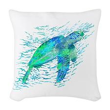 Sea Turtle Graphic Woven Throw Pillow