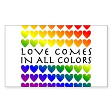 Love Comes in All Colors Rectangle Decal