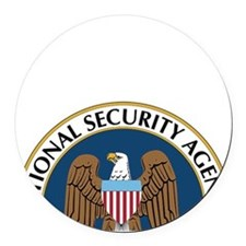 NSA Monitored Device Round Car Magnet