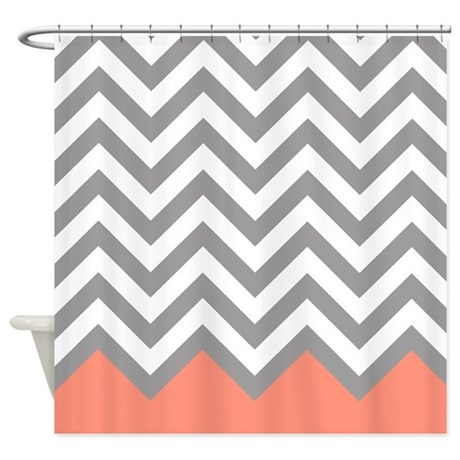 Grey And Coral Chevrons Shower Curtain By Erics Designz