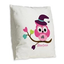 Personalized Wicked Witch Owl Burlap Throw Pillow