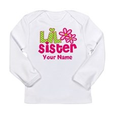 Lil Sister Pink Green Long Sleeve T-Shirt