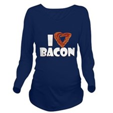I Heart Bacon Long Sleeve Maternity T-Shirt