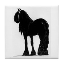 Funny Friesian horse Tile Coaster