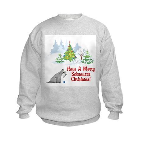 Christmas Miniature Schnauzer Kids Sweatshirt