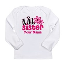 Little Sister Pink Zebra Long Sleeve T-Shirt