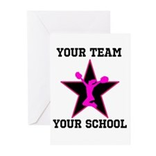 Custom pink and black cheerleading Greeting Cards