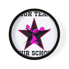 Custom pink and black cheerleading Wall Clock