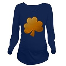 Lucky Orange Clover Long Sleeve Maternity T-Shirt