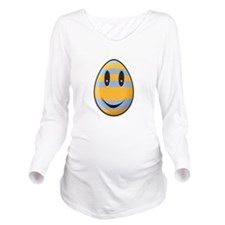 Smiley Easter Egg Long Sleeve Maternity T-Shirt