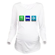 Eat, Sleep, Pilot Long Sleeve Maternity T-Shirt