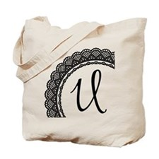 Black Lace Look Monogram Tote Bag