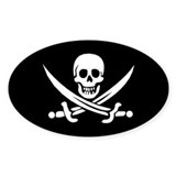 Pirate Flag Oval Decal
