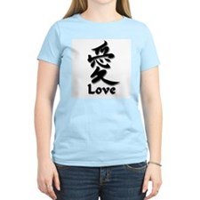 Love English/Kanji Women's Pink T-Shirt