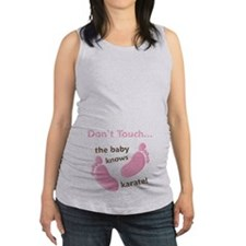 Baby Knows Karate Pink Brown Maternity Tank Top