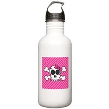 Cute Skull and Crossbones with Pink Bow Water Bott