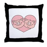 Piggy Love Throw Pillow