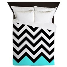 Black, white and turquoise chevrons 2 Queen Duvet
