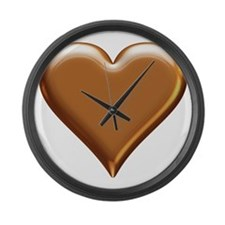 Gold Look Heart Large Wall Clock