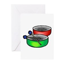 steel pan drums red green Greeting Cards