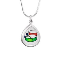 steel pan drums red green c Necklaces