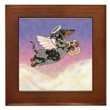 Silver Dapple Dachshund Angel Framed Tile