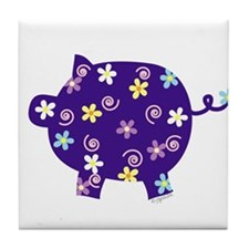 Swirly Flower Pig Tile Coaster