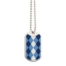 UNC Basketball Argyle Carolina Blue Dog Tags
