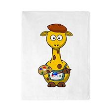 Painter Giraffe Cartoon Twin Duvet