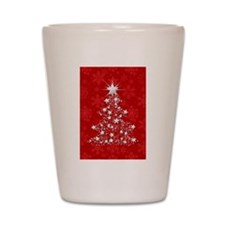 Sparkling Red Christmas Tree Shot Glass