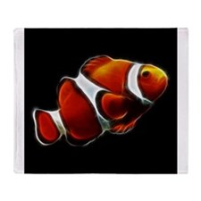 Orange Clownfish Tropical Clown Fish Throw Blanket