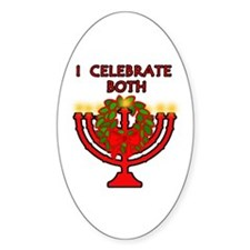 Christmas AND Hanukkah Oval Decal