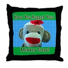 Hugged Monkey? Throw Pillow