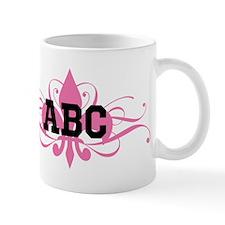 CUSTOM TEXT Pink Fleur De Lis Swirls Mugs