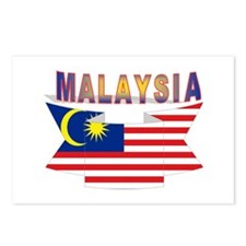 Malaysia flag ribbon Postcards (Package of 8)