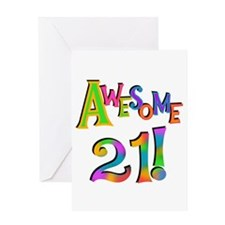 Awesome 21 Birthday Greeting Card