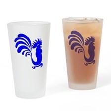 Blue Rooster Silhouette Drinking Glass