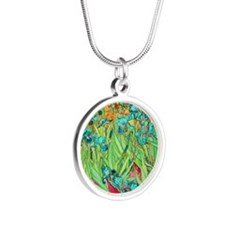 van gogh teal irises Silver Round Necklace