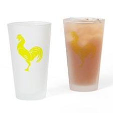 Yellow Rooster Silhouette Drinking Glass